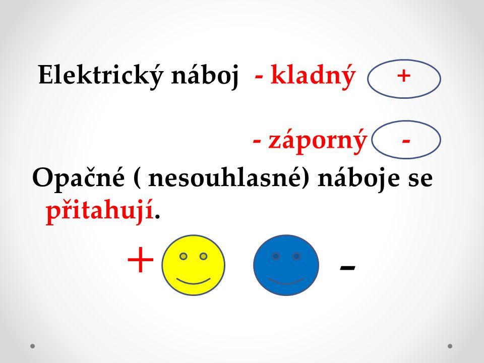 + - Elektrický náboj - kladný + - záporný -