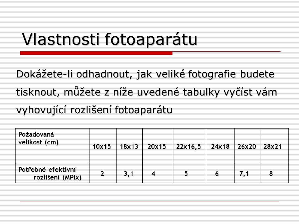 Vlastnosti fotoaparátu