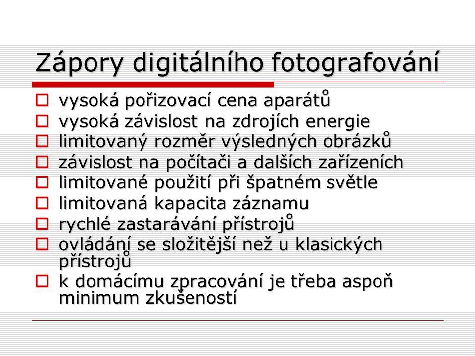 Zápory digitálního fotografování