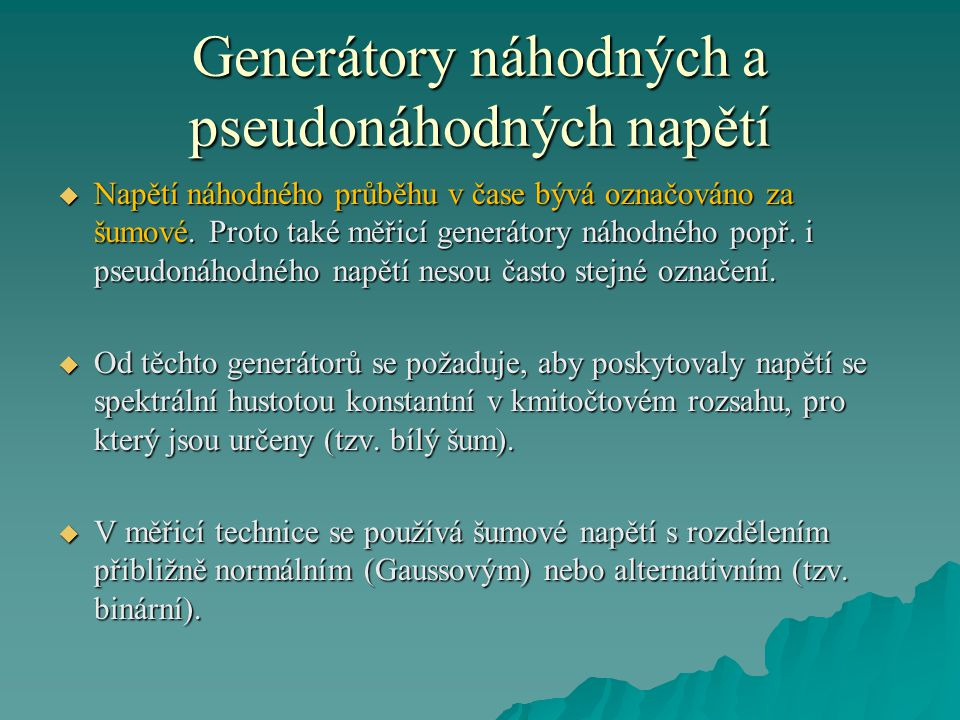 Generátory náhodných a pseudonáhodných napětí
