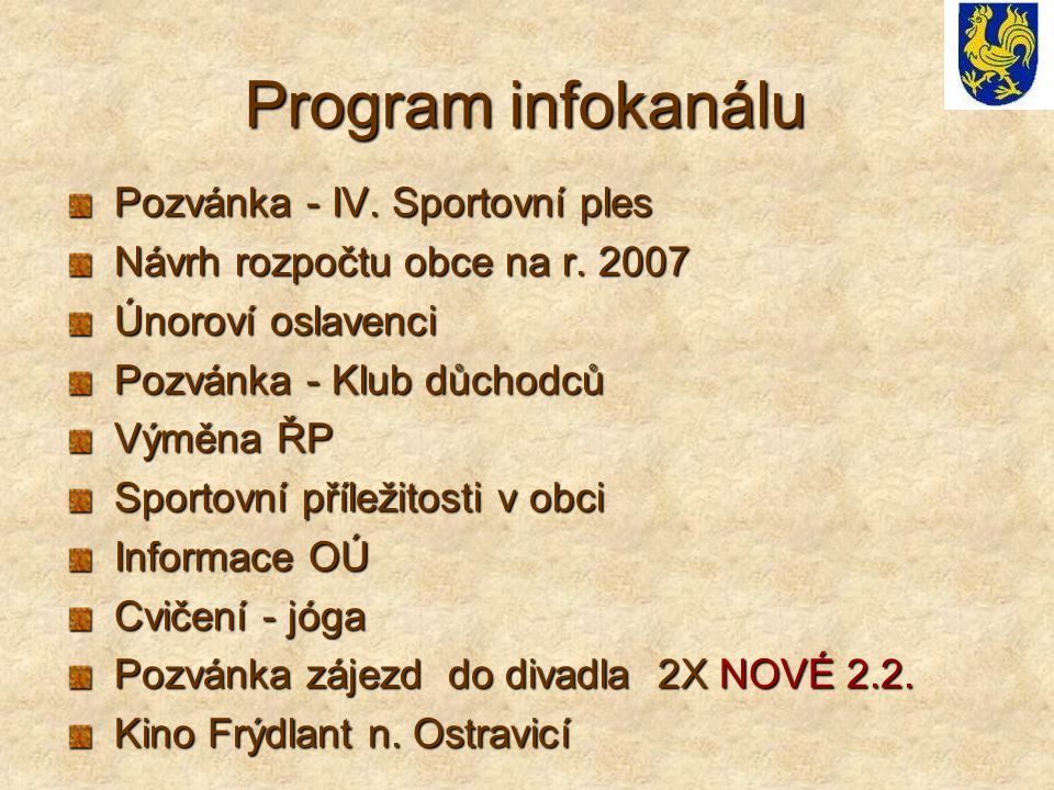 Program infokanálu Pozvánka - IV. Sportovní ples