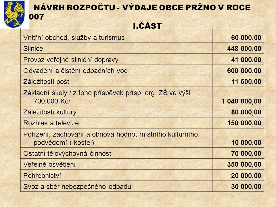 NÁVRH ROZPOČTU - VÝDAJE OBCE PRŽNO V ROCE 2007 I.ČÁST