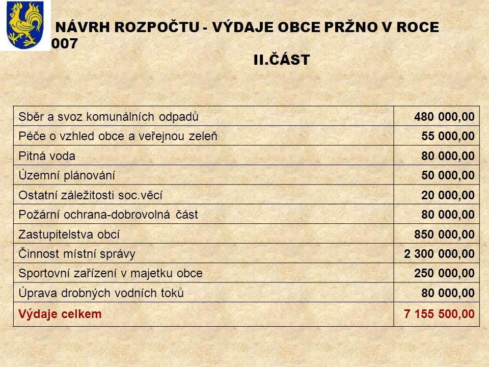 NÁVRH ROZPOČTU - VÝDAJE OBCE PRŽNO V ROCE 2007 II.ČÁST