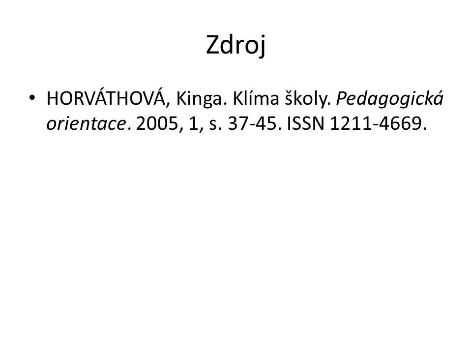 Zdroj HORVÁTHOVÁ, Kinga. Klíma školy. Pedagogická orientace. 2005, 1, s. 37-45. ISSN 1211-4669.