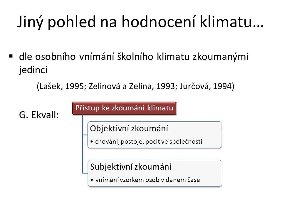 Jiný pohled na hodnocení klimatu…