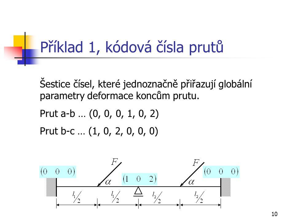 Příklad 1, kódová čísla prutů