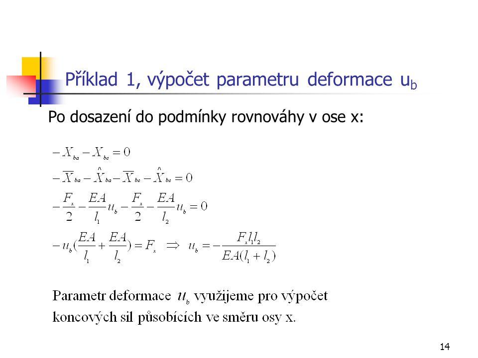 Příklad 1, výpočet parametru deformace ub