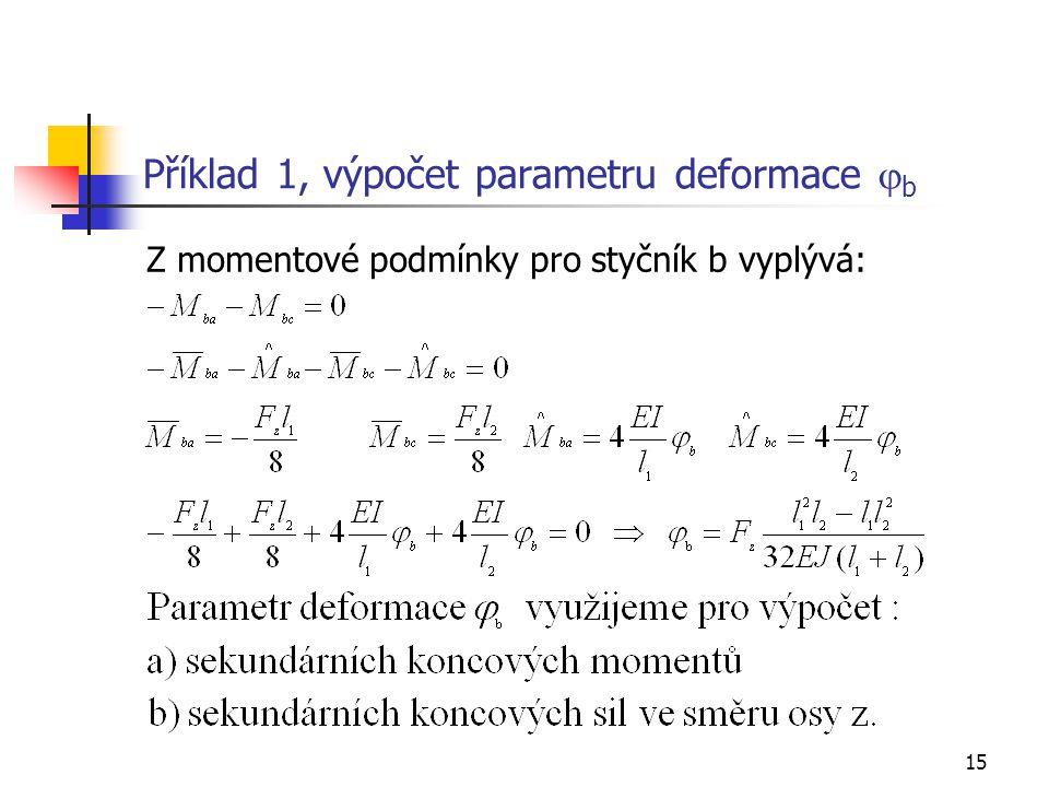 Příklad 1, výpočet parametru deformace jb