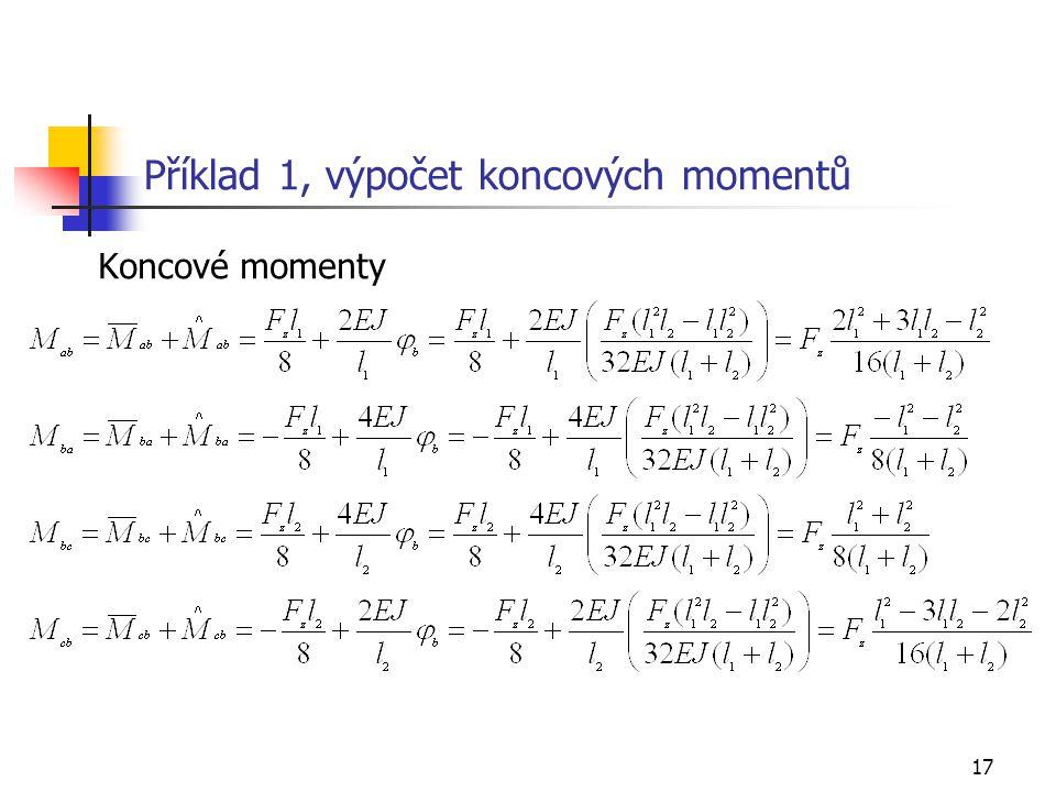 Příklad 1, výpočet koncových momentů