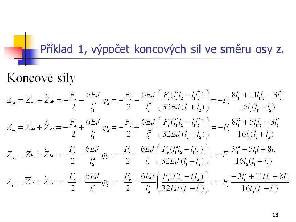 Příklad 1, výpočet koncových sil ve směru osy z.