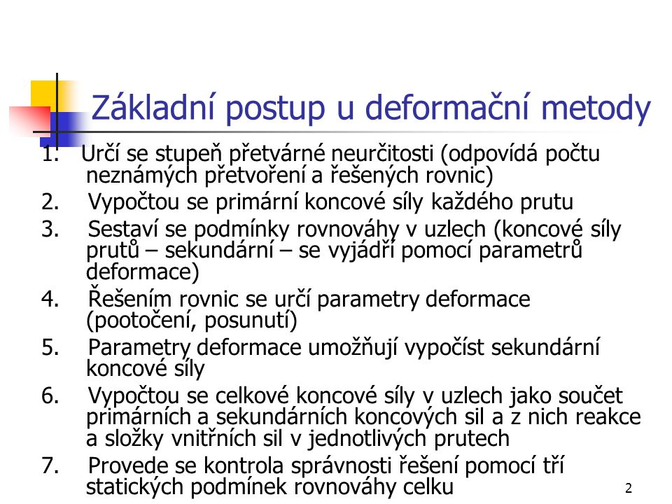 Základní postup u deformační metody