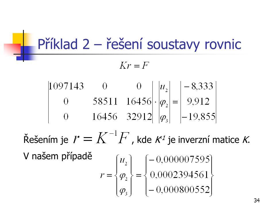Příklad 2 – řešení soustavy rovnic
