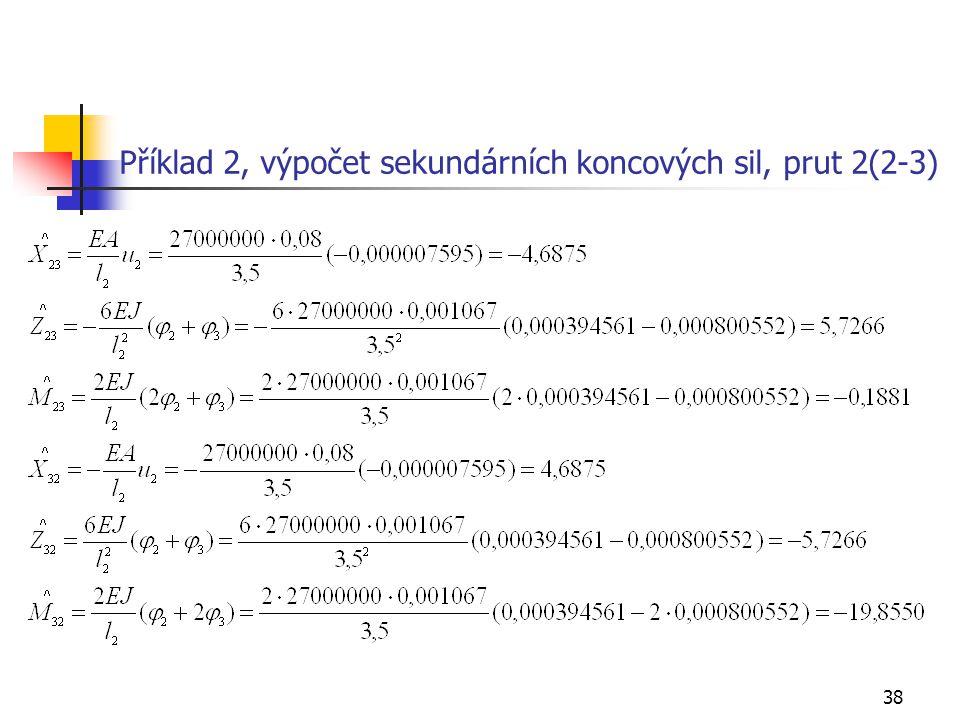 Příklad 2, výpočet sekundárních koncových sil, prut 2(2-3)