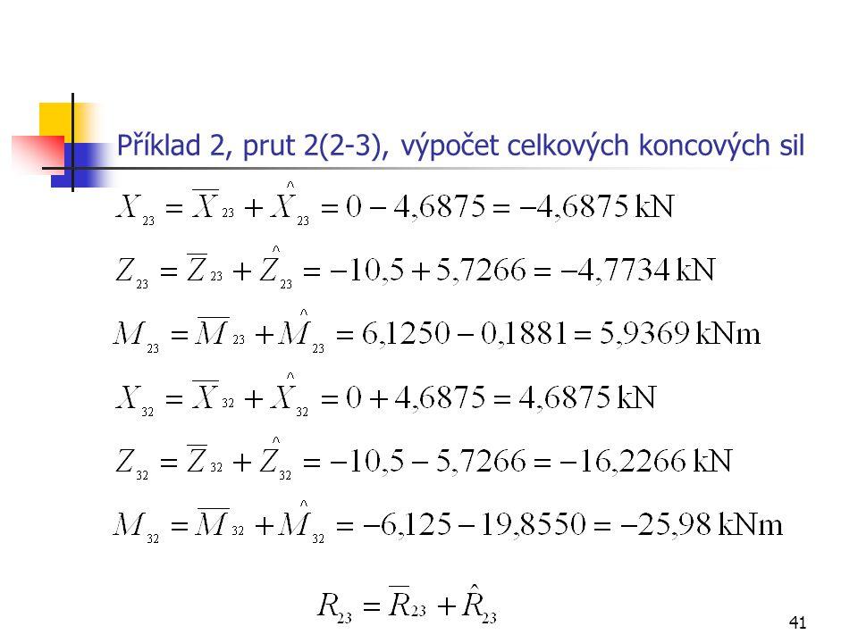 Příklad 2, prut 2(2-3), výpočet celkových koncových sil