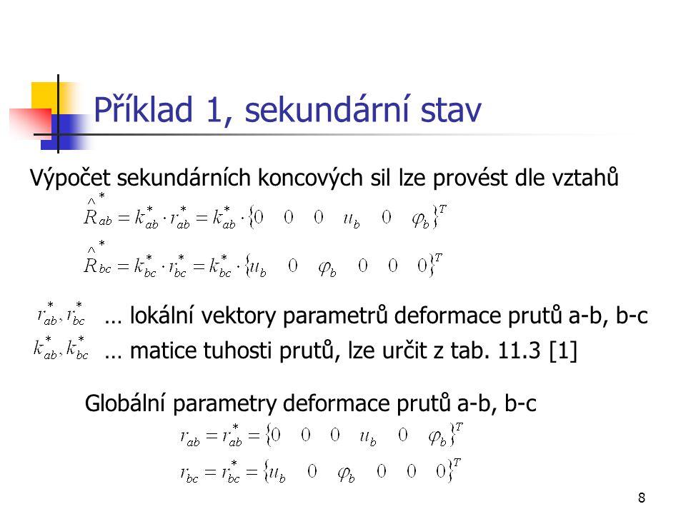 Příklad 1, sekundární stav