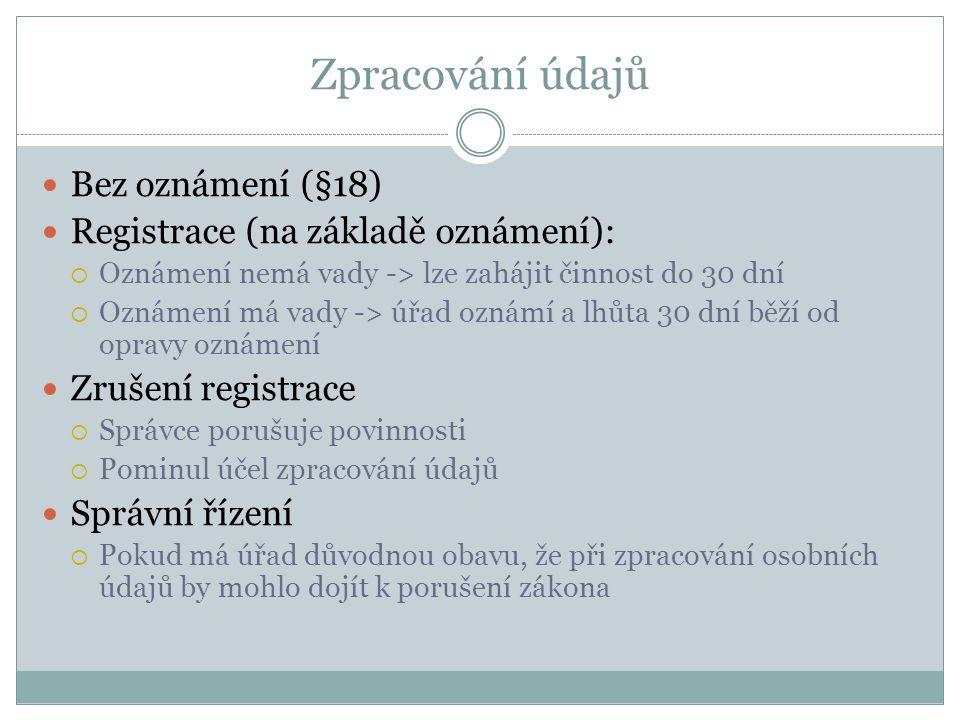 Zpracování údajů Bez oznámení (§18) Registrace (na základě oznámení):