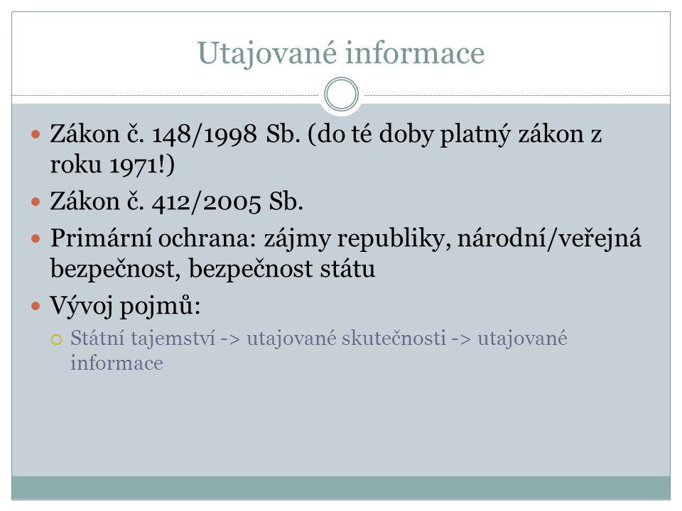 Utajované informace Zákon č. 148/1998 Sb. (do té doby platný zákon z roku 1971!) Zákon č. 412/2005 Sb.