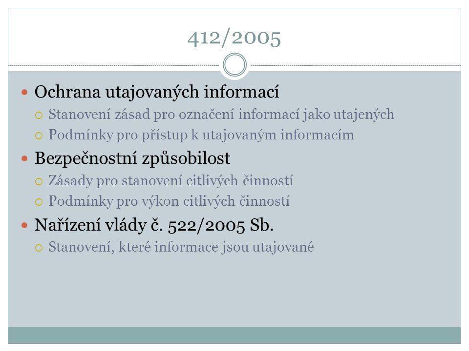 412/2005 Ochrana utajovaných informací Bezpečnostní způsobilost