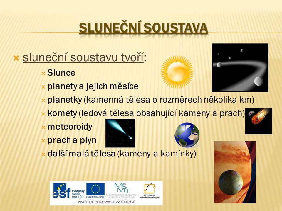 SLUNEČNÍ SOUSTAVA sluneční soustavu tvoří: Slunce