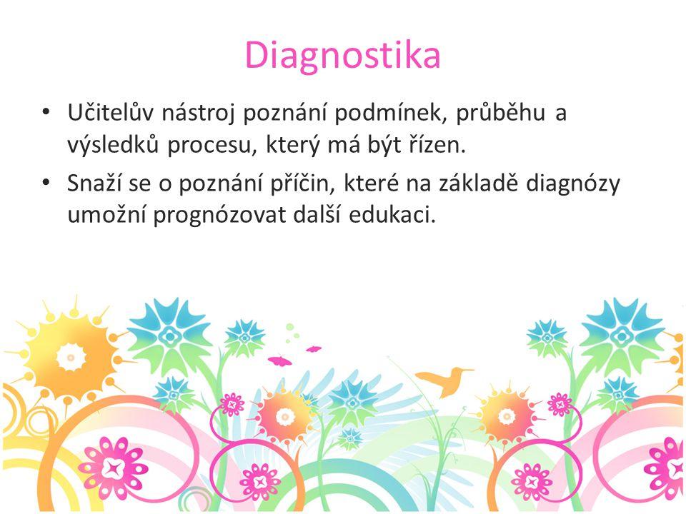 Diagnostika Učitelův nástroj poznání podmínek, průběhu a výsledků procesu, který má být řízen.