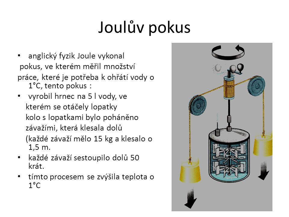 Joulův pokus anglický fyzik Joule vykonal