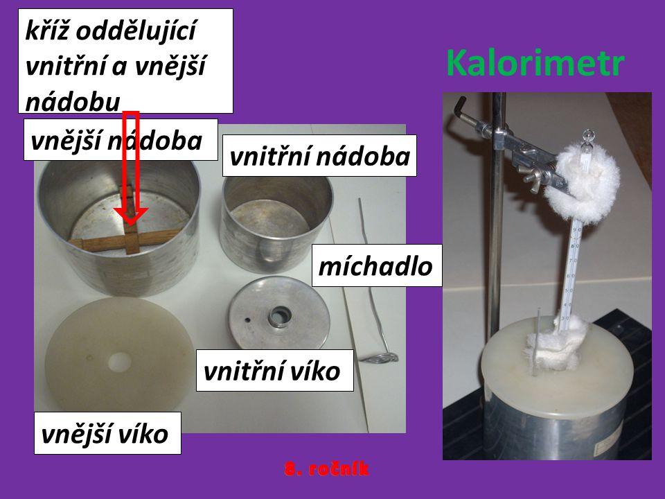 Kalorimetr kříž oddělující vnitřní a vnější nádobu vnější nádoba