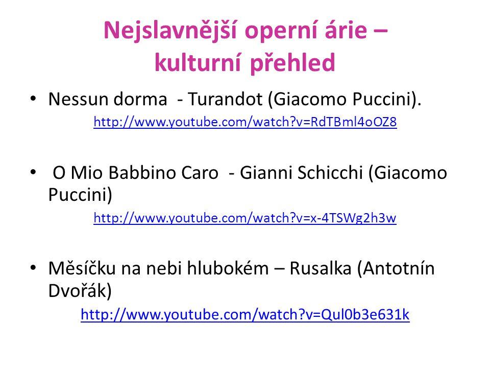 Nejslavnější operní árie – kulturní přehled