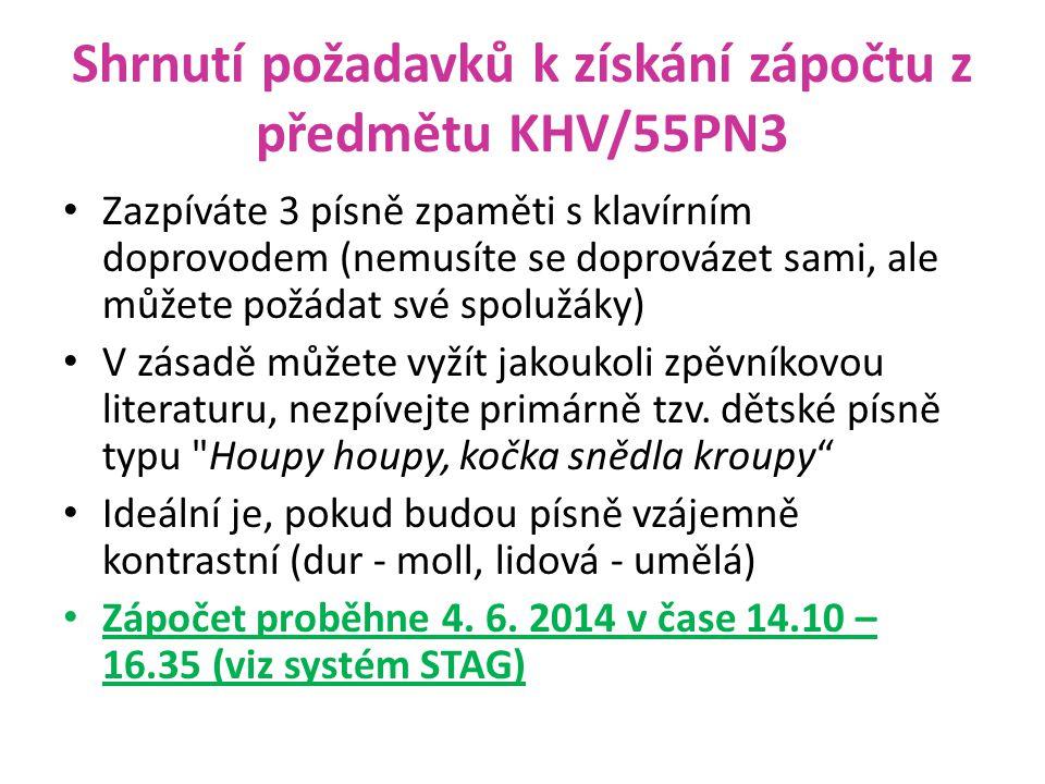 Shrnutí požadavků k získání zápočtu z předmětu KHV/55PN3