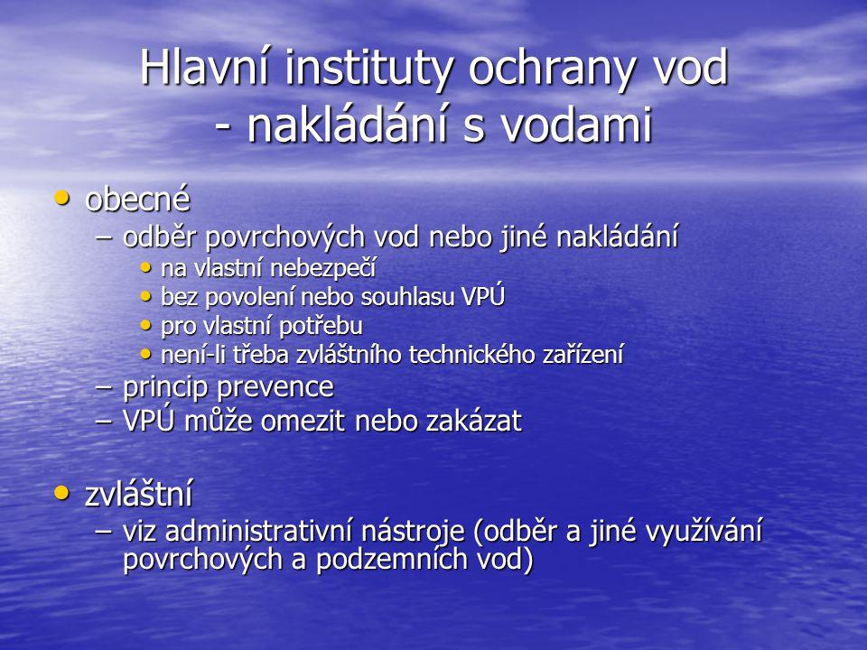 Hlavní instituty ochrany vod - nakládání s vodami