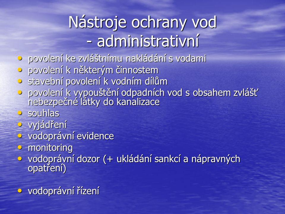 Nástroje ochrany vod - administrativní