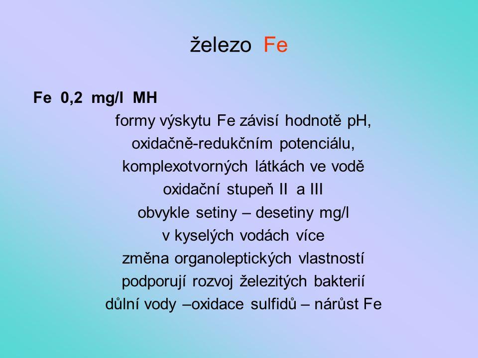 železo Fe Fe 0,2 mg/l MH formy výskytu Fe závisí hodnotě pH,