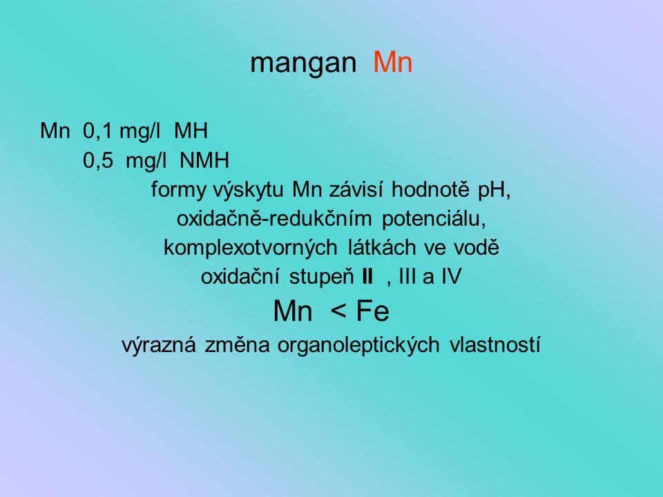 mangan Mn Mn < Fe Mn 0,1 mg/l MH 0,5 mg/l NMH