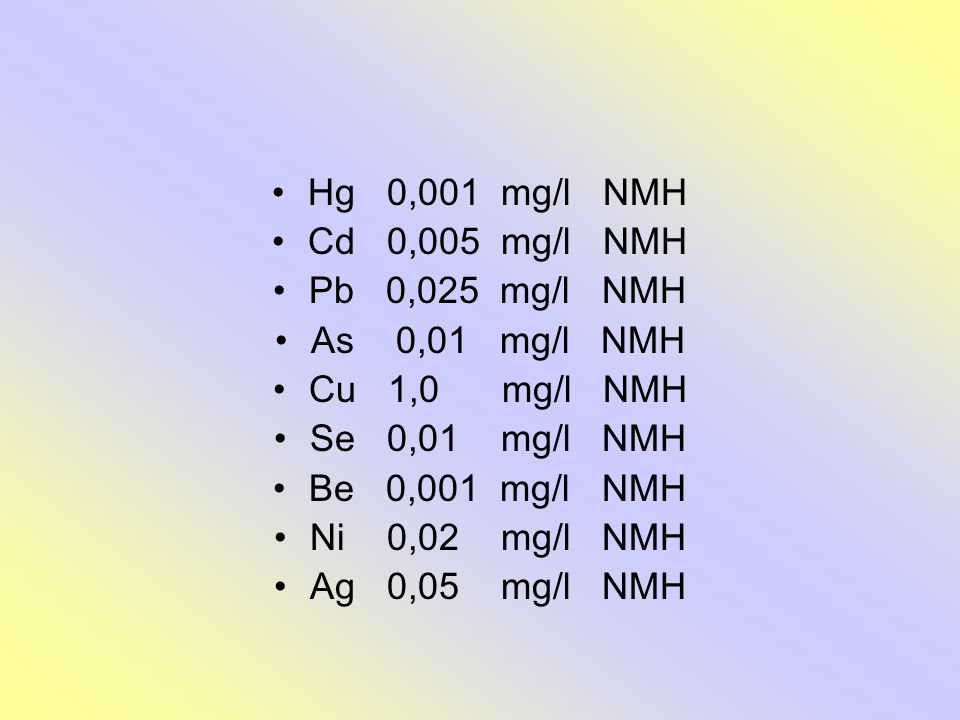 Hg 0,001 mg/l NMH Cd 0,005 mg/l NMH. Pb 0,025 mg/l NMH. As 0,01 mg/l NMH. Cu 1,0 mg/l NMH.