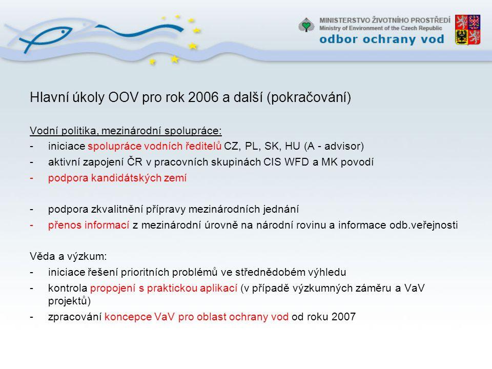 Hlavní úkoly OOV pro rok 2006 a další (pokračování)