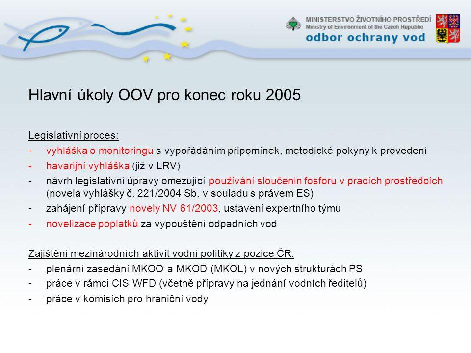 Hlavní úkoly OOV pro konec roku 2005