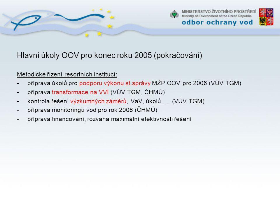 Hlavní úkoly OOV pro konec roku 2005 (pokračování)