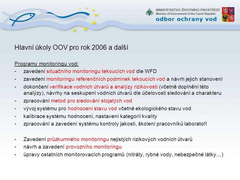 Hlavní úkoly OOV pro rok 2006 a další