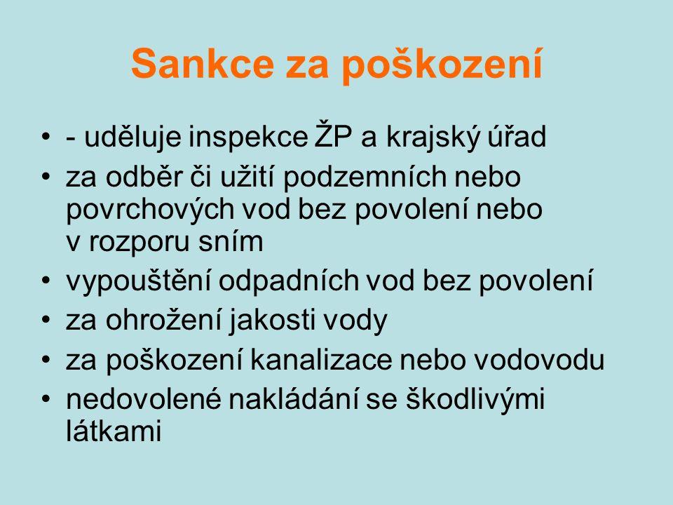 Sankce za poškození - uděluje inspekce ŽP a krajský úřad