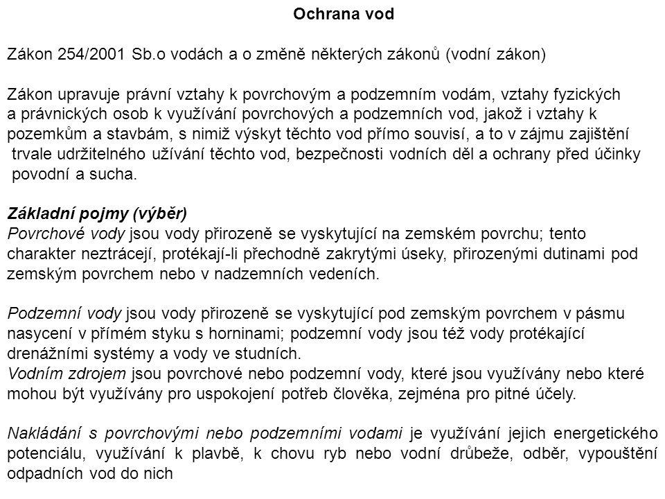 Ochrana vod Zákon 254/2001 Sb.o vodách a o změně některých zákonů (vodní zákon)