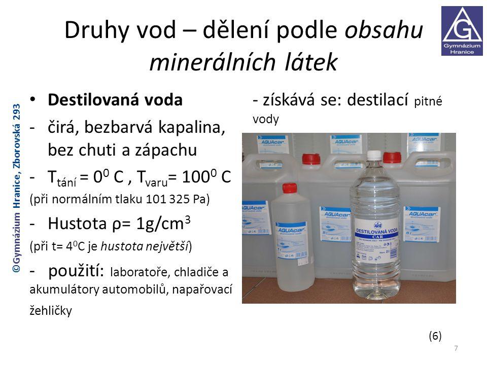 Druhy vod – dělení podle obsahu minerálních látek