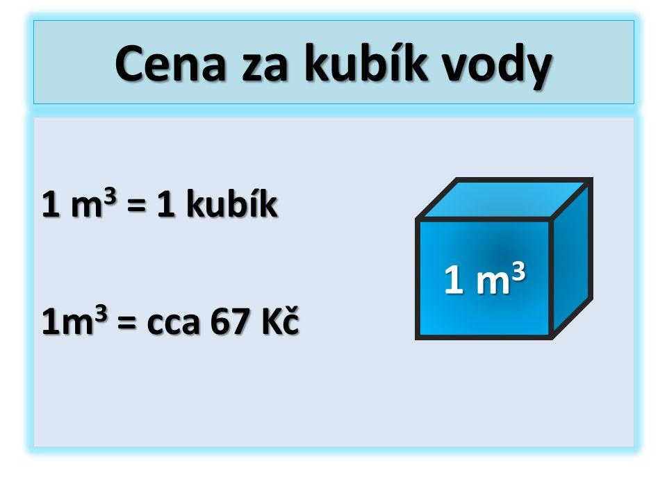 Cena za kubík vody 1 m3 = 1 kubík 1m3 = cca 67 Kč 1 m3
