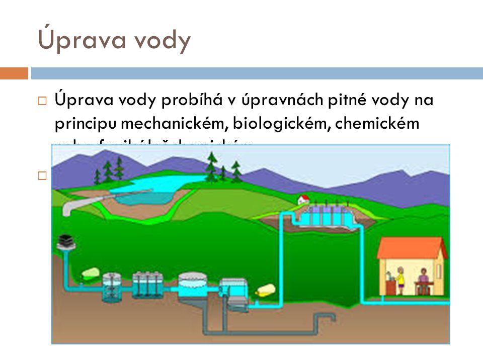 Úprava vody Úprava vody probíhá v úpravnách pitné vody na principu mechanickém, biologickém, chemickém nebo fyzikálněchemickém.