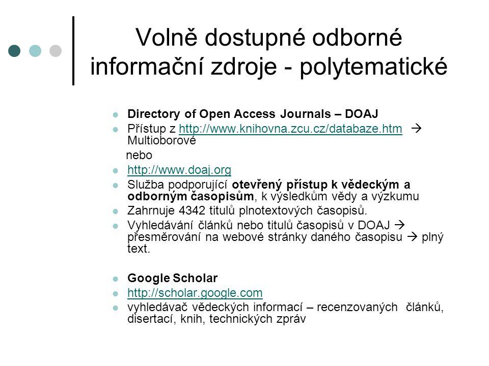 Volně dostupné odborné informační zdroje - polytematické