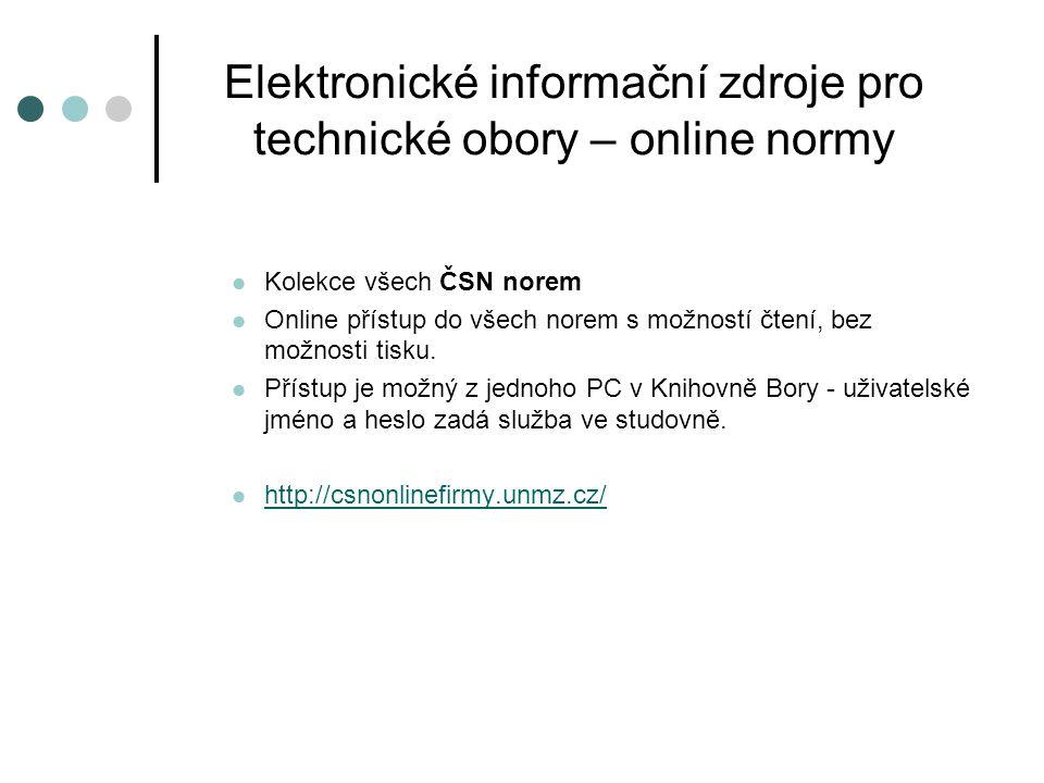 Elektronické informační zdroje pro technické obory – online normy
