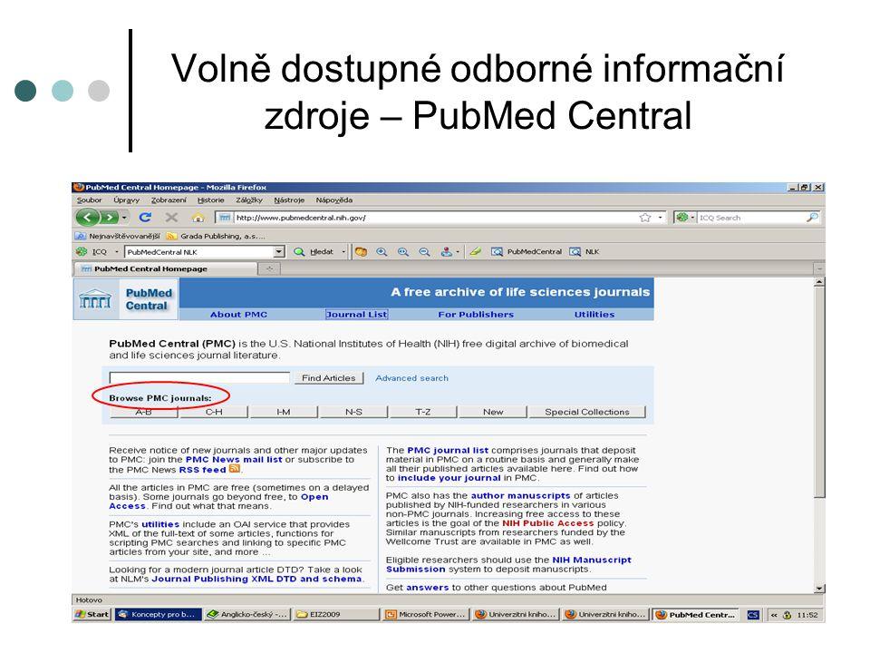 Volně dostupné odborné informační zdroje – PubMed Central