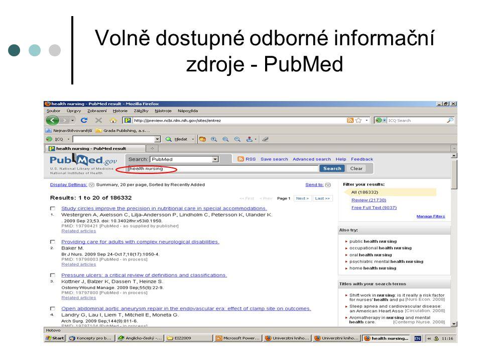 Volně dostupné odborné informační zdroje - PubMed