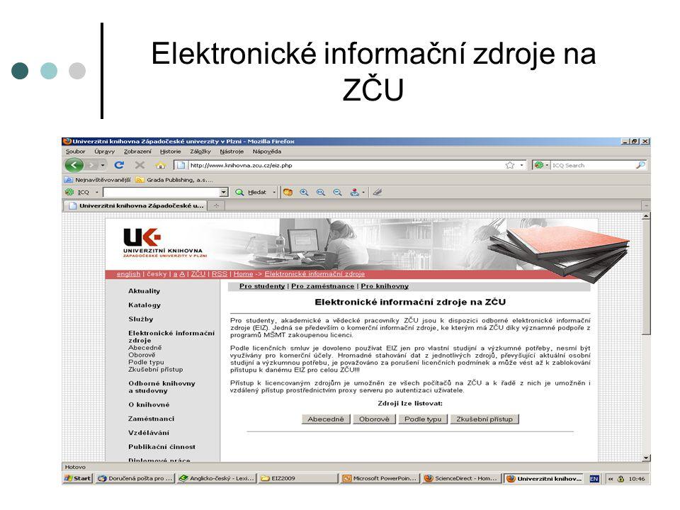Elektronické informační zdroje na ZČU