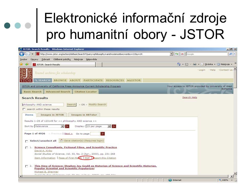 Elektronické informační zdroje pro humanitní obory - JSTOR