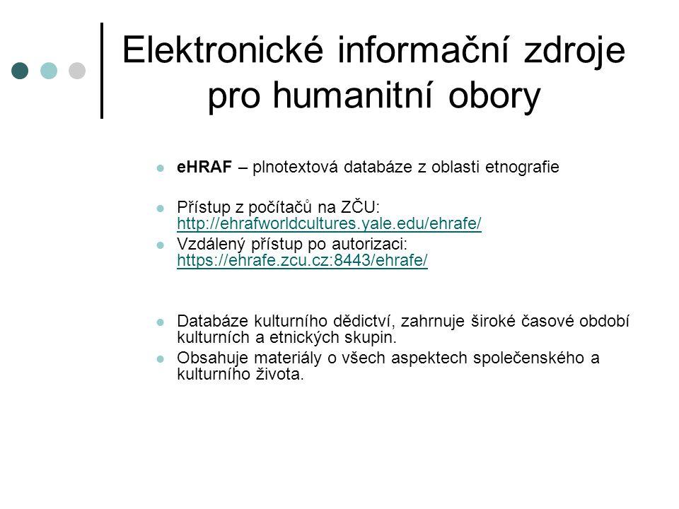 Elektronické informační zdroje pro humanitní obory