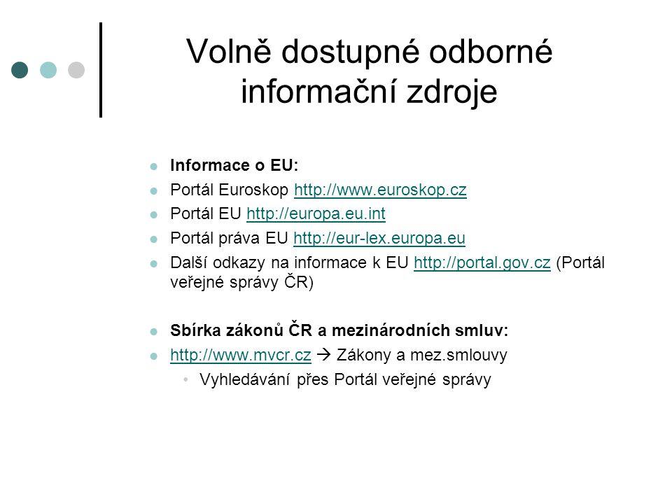 Volně dostupné odborné informační zdroje